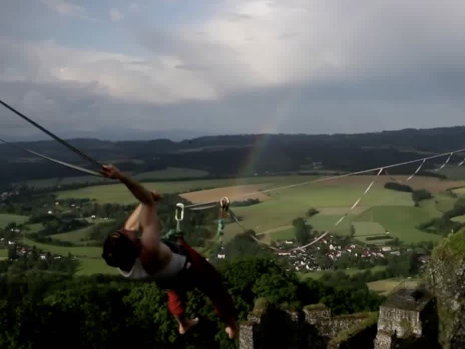 Daredevils in the Czech Republic put their skills and courage to the test as they walk highline