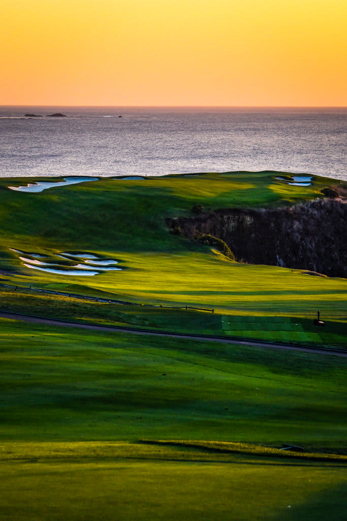 PEBBLE BEACH, CA - NOV 08:  A general view of sunset on the sixth hole fairway during previews for the 2019 U.S. Open at Pebble Beach Golf Links on November 8, 2018 in Pebble Beach, California. (Photo by Keyur Khamar/PGA TOUR)