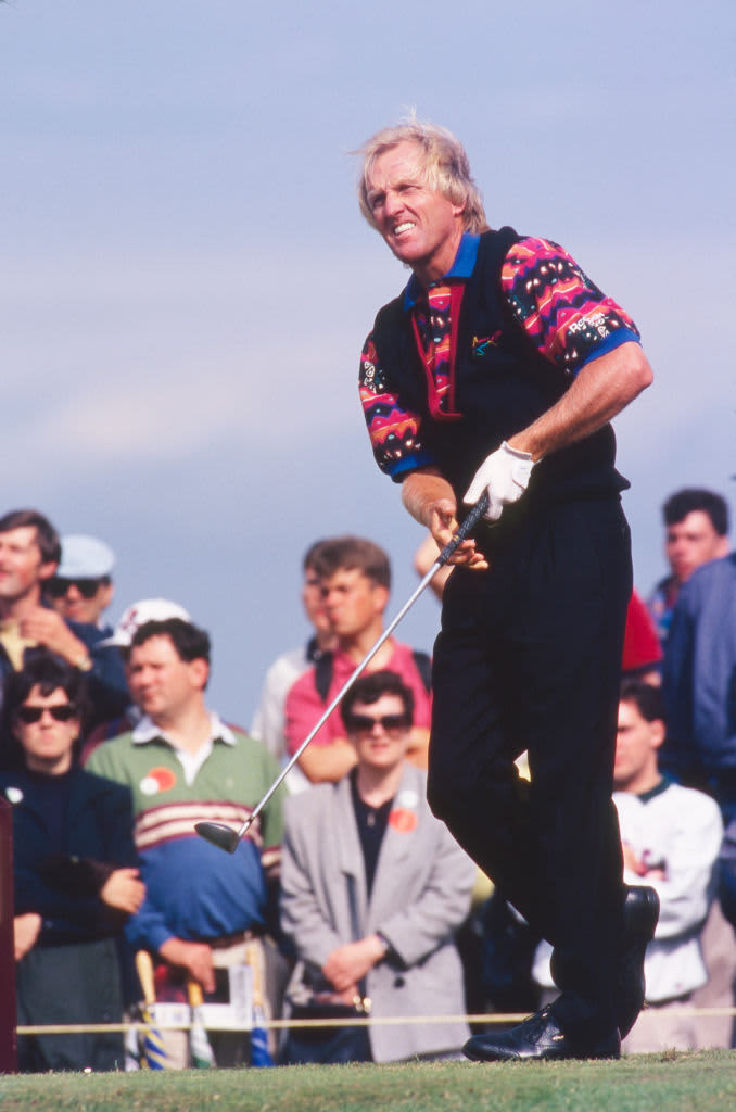 SANDWICH, ENGLAND - JULY 1993:  Greg Norman of Australia tees off during the 122nd Open Championship held at Royal St George's Golf Club from July 15-18,1993 in Sandwich, Kent, England. (Photo by R&A via Getty Images)
