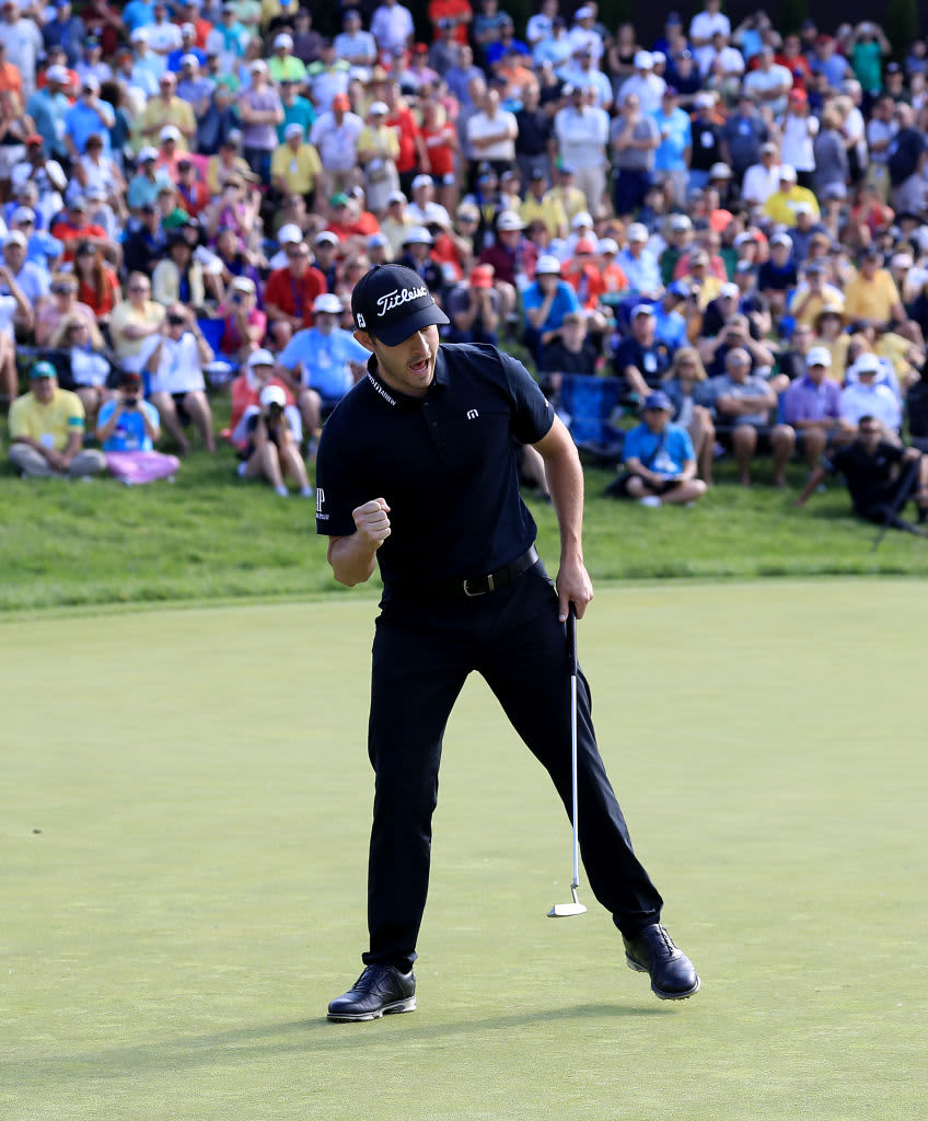 DUBLIN, OHIO - JUNE 02: Patrick Cantlay reacts after making a par putt during the final round of The Memorial Tournament Presented by Nationwide at Muirfield Village Golf Club on June 02, 2019 in Dublin, Ohio. (Photo by Sam Greenwood/Getty Images)
