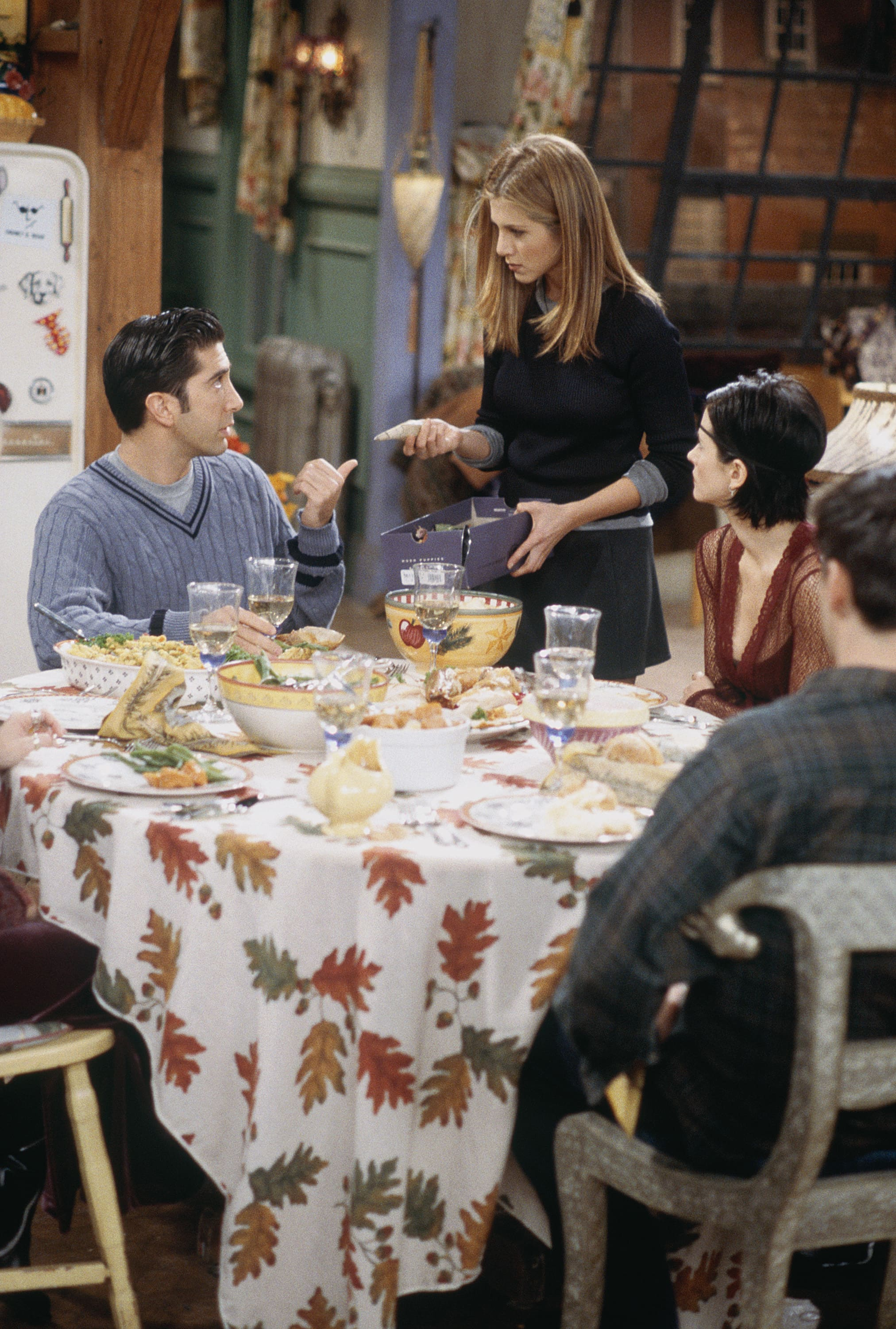 """FRIENDS -- """"The One with Chandler in a Box"""" Episode 8 -- Pictured: (front, l-r) Lisa Kudrow as Phoebe Buffay, Courteney Cox as Monica Geller, Jennifer Aniston as Rachel Green, (back) Matt LeBlanc as Joey Tribbiani  (Photo by Paul Drinkwater/NBCU Photo Bank/NBCUniversal via Getty Images via Getty Images)"""