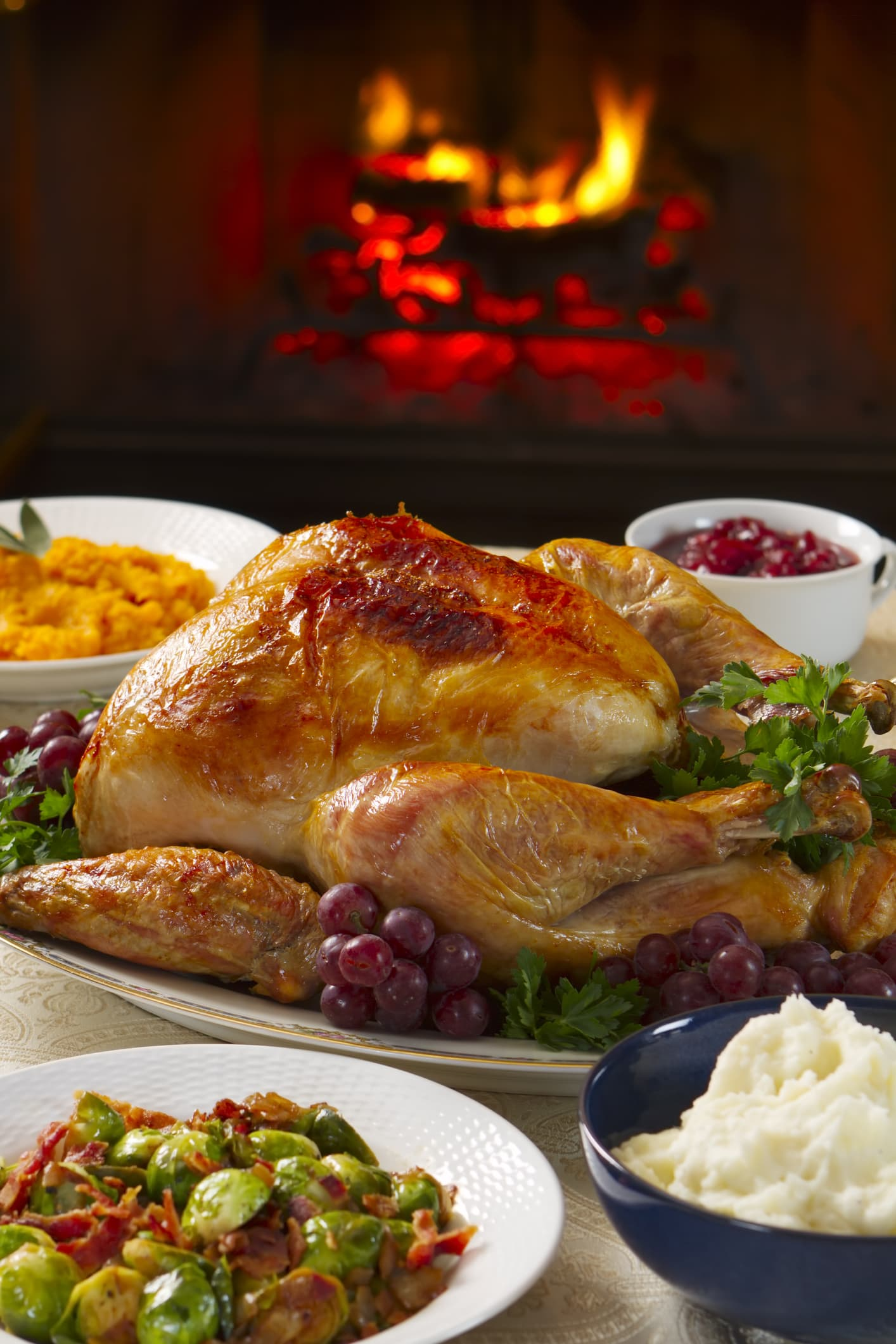 Holiday dinner with roast turkey, butternut squash, Brussels sprout, mashed potatoes, and cranberry sauce, all served by a roaring fire.