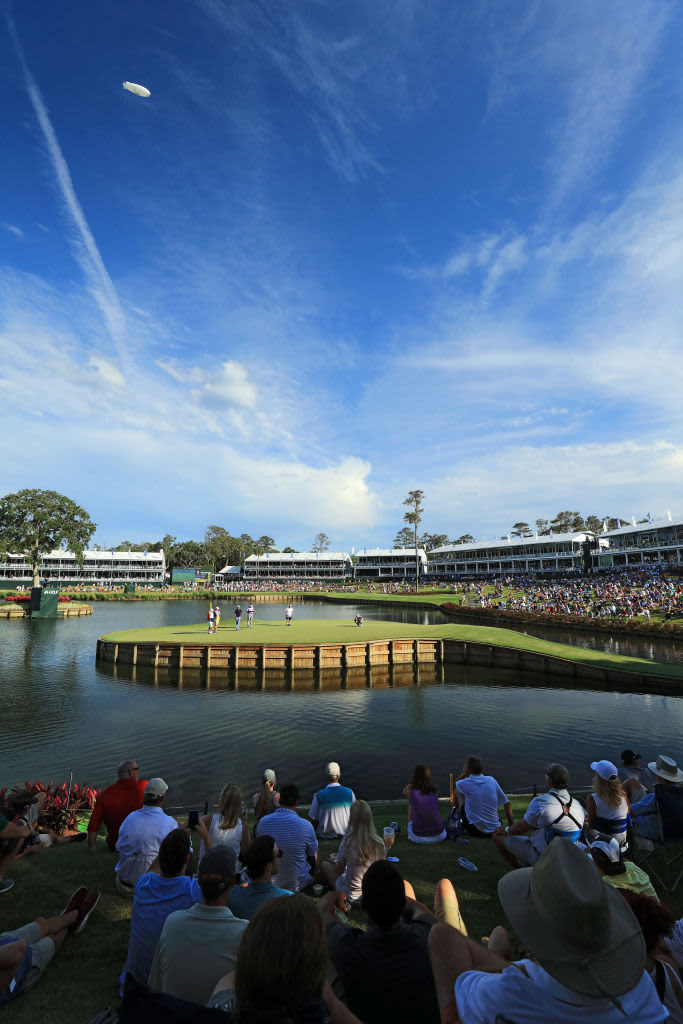 PONTE VEDRA BEACH, FL - MAY 12:  (EDITORS NOTE: Polarising filter used in this image) A general view of the par 3, 17th hole during the second round of THE PLAYERS Championship on the Stadium Course at TPC Sawgrass on May 12, 2017 in Ponte Vedra Beach, Florida.  (Photo by David Cannon/Getty Images)