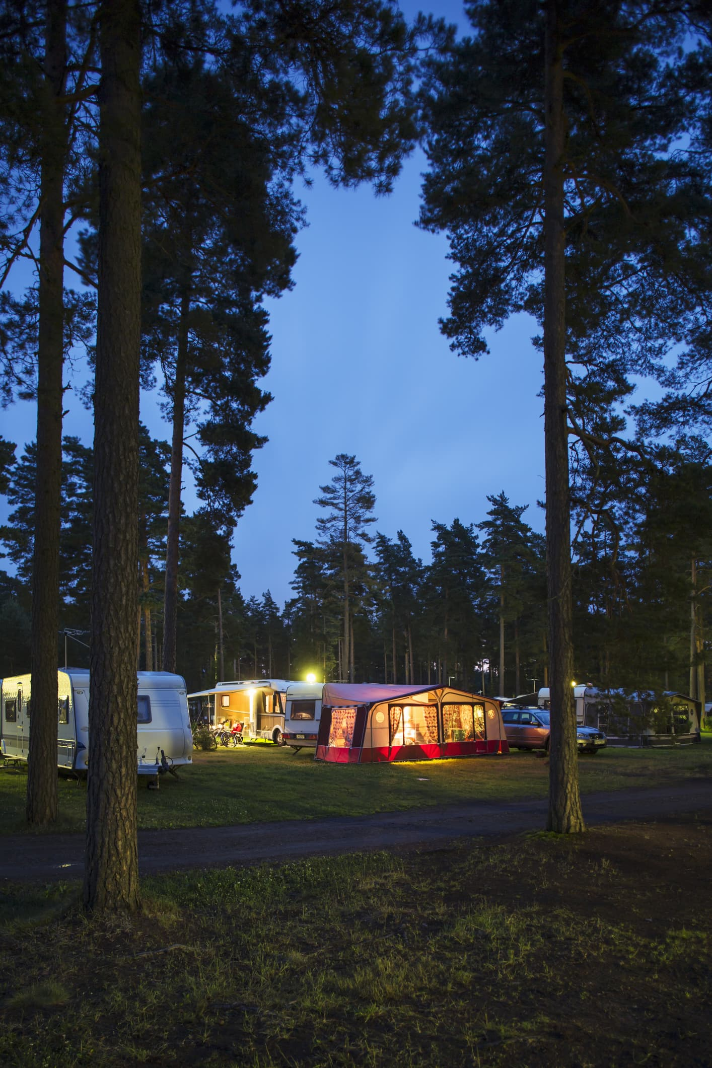 Campground at night