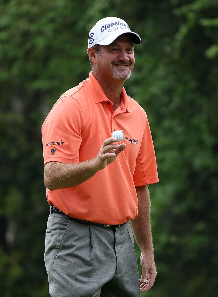 HILTON HEAD ISLAND, SC - APRIL 15:  Jerry Kelly celebrates his hole-in-one on the fourth hole during the first round of the Verizon Heritage at the Harbour Town Golf Links on April 15, 2010 in Hilton Head lsland, South Carolina.  (Photo by Scott Halleran/Getty Images)